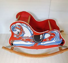 Bouncing Wooden Red Rocking Horse - Vintage Ride On Size - Shabby Farmhouse Doll Display Decor. $50.00, via Etsy.