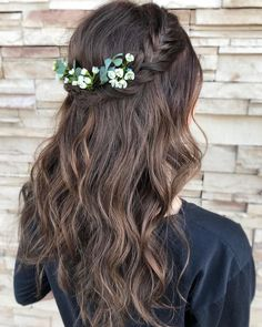 44 Gorgeous Half Up Half Down Hairstyles - Fabmood Wedding Colors Wedding Themes Wedding color palettes Debs Hairstyles, Cool Braid Hairstyles, Flower Girl Hairstyles, Homecoming Hairstyles, Wedding Hairstyles For Long Hair, Gorgeous Hairstyles, Bridal Hairstyle, Braid Half Up Half Down, Medium Hair Styles