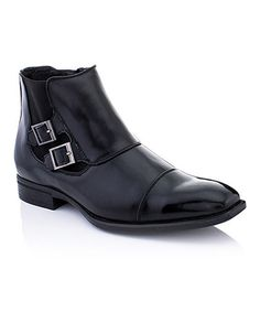 Look what I found on #zulily! Black Double-Buckle Ankle Boot #zulilyfinds