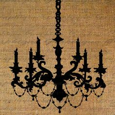 Chandelier Silhouette Candles Ornate Digital Image Download Transfer For Pillows Totes Tea Towels Burlap No.1618
