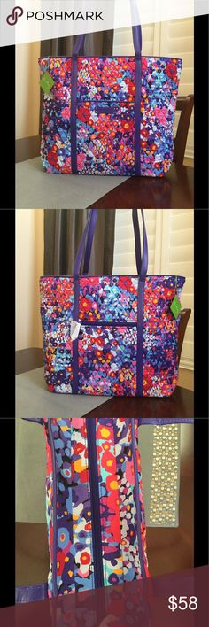 "NWT VERA BRADLEY LARGE TRIMMED VERA TOTE New with tags large trimmed Vera tote Impressionista pattern  Faux leather trim Recessed zip-top closure Six large pockets inside Two outside pockets  15"" W x 14 3/4"" H x 6 1/4"" D with 12"" strap drop    Smoke / pet free home Vera Bradley Bags Totes"