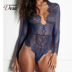 9223510190f73 Clubwear V neck Playsuit Bodycon Bodysuit Long Lace Sleeve