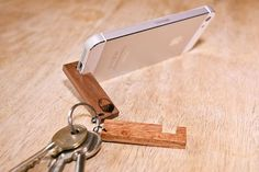Wooden Smart Phone Stand Keyring by OakAndAwl on Etsy