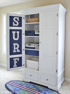 Breath new life into second hand furniture and #MakeItYourOwn with Annie Sloan. You'll love this Surf Themed Armoire Makeover using Pure White and Napoleonic Blue Chalk Paint decorative paint by Annie Sloan | By Sand and Sisal