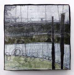 Marshscape Collage #5/16, Linen, wax, found thread, 20 x 20 cms