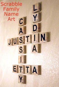 Scrabble Family Name Art remodelaholic.com #art #family #tutorial