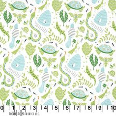 Blue and Green Snake and Turtle Fabric by RaspberryCreekFabric, $8.45
