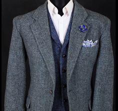 Blue herringbone Harris tweed waistcoat, grey herringbone Harris tweed jacket