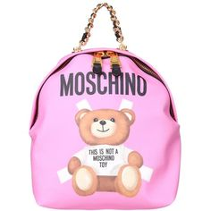 Moschino Canvans and leather backpack (2.180 BRL) ❤ liked on Polyvore featuring bags, backpacks, rosa, pink bag, genuine leather backpack, pink backpack, moschino bags and zip bag