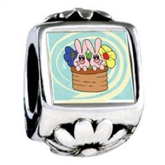 Bunnies In A Basket Photo Flower Charms  Fit pandora,trollbeads,chamilia,biagi,soufeel and any customized bracelet/necklaces. #Jewelry #Fashion #Silver# handcraft #DIY #Accessory