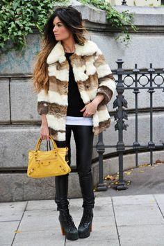 vintage coat, bershka pants, zara pullover, balenciaga bag, jeffrey campbell shoes. 11/6/11