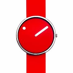 Rosendahl PICTO Medium - Red: Originally designed by Steen Georg Christensen and Erling Andersen in 1984, the PICTO looks just as relevant and contemporary today. The first watch and clock design to use a rotary disk system to tell time, the minimalist design is considered so pioneering it now has a place in the permanent collection at New York's Museum of Modern Art.   -Great unisex watch -Two year warranty