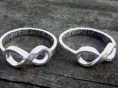 Hand Stamped Best Friends Infinity Ring Set by by donnaOdesigns