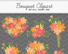 Floral Flower Bouquet Pink Orange Clipart / INSTANT DOWNLOAD / Digital Bouquets Set of 6 / 175