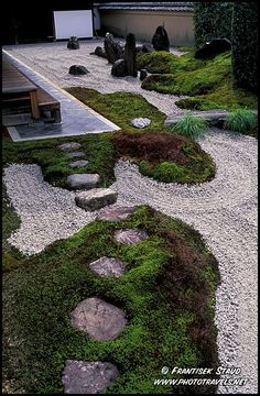 Photograph of Stepping stones leading to the Zen garden of Zuiho-in Temple, Kyoto, Japan photo
