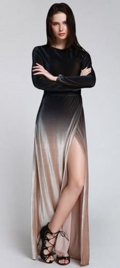 Love Love LOVE this Dress! Gorgeous Side Slit Long Sleeves Gradient Ombre Color…