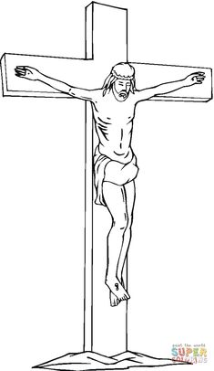 Jesus On The Cross Coloring Page. Coloring pages are a whole entertainment deal for kids, especially if you will find ones-which depict time, their favorite per Cross Coloring Page, Jesus Coloring Pages, Coloring Books, Coloring Sheets For Kids, Printable Coloring Sheets, Jesus Drawings, Tattoo Stencils, Jesus On The Cross, Kids Wood