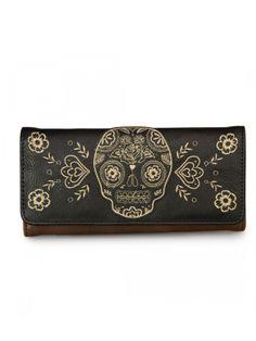 """Natural Sugar Skull"" Wallet by Loungefly (Brown/Black)"