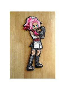Sakura pixel art made from fuse beads