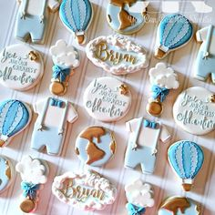 You Are Our Greatest Adventure baby shower cookies! Congratulations Laura and Jose at ! So excited to meet… Galletas Cookies, Iced Cookies, Royal Icing Cookies, Sugar Cookies, Baby Boy Cookies, Baby Shower Cookies, Cute Cookies, Heart Cookies, Airplane Baby Shower