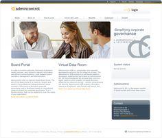 """Admincontrol tilbyr sikker deling av dokumenter over nettet, og vi designet websiden deres lys med en seriøs og """"clean"""" look. Websiden er også satt opp for å støtte alle de skandinaviske språkene, i tillegg til engelsk."""