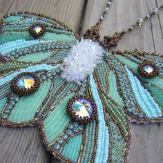 Green Butterfly Necklace  Bead Embroidery by ColorwayJewelry, $895.00