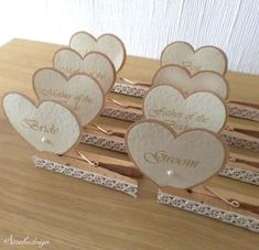 Wooden Clips as an Inspiration - DIY Wedding Place CardsYou can find Place card holders and more on our website.Wooden Clips as an Inspiration - DIY Wedding Place Cards Diy Wedding Programs, Wedding Name Cards, Wedding Place Card Holders, Place Card Holders Diy, Diy Wedding Place Cards, Wedding Place Names, Diy Place Cards, Diy Cards, Vintage Place Cards