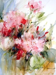 Geraniums, watercolor, 12.5 x 9.5 inches.  Geranios, aquarela, 24 x 32 cm.