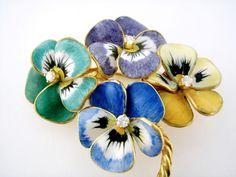 Vintage 14K Enamel Enameled Diamond Pansy Bouquet Brooch, c. 1940s