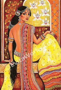 Indian woman painting feminine beauty Goddess art by EvitaWorks Indian Women Painting, Indian Art Paintings, Oil Paintings, Ancient Indian Paintings, Landscape Paintings, Madhubani Art, Madhubani Painting, Tag Art, Painting Prints