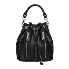 SheIn(sheinside) Black Drawstring Zipper Bucket Bag (110 ILS) ❤ liked on Polyvore featuring bags, handbags, black, convertible satchel, zipper bag, zipper purse, drawstring purse and satchel bag