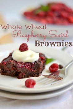 Whole Wheat Raspberry Swirl Brownies - Food Doodles