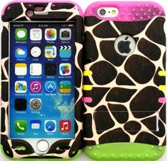 """Amazon.com: Green, Brown and White """"Giraffe Animal Spots with Non-Slip Grip Texture"""" 3 Piece Layered ULTRA Tuff Custom Armored Hybrid Case for the NEW iPhone 6 Plus 5.5"""" Inch Smartphone by Apple {Made of Soft Silicone Gel and Hard Rubberized Plastic with External Built in Kickstand} """"All Ports Accessible"""": Cell Phones & Accessories"""