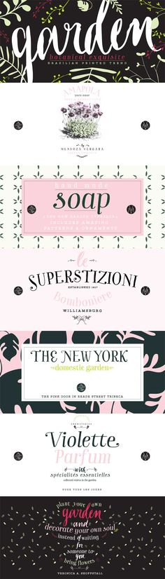 Garden font family by Los Andes - playful, charming & spontaneous. Includes 11 hand drawn serif display typefaces, floral dingbats, botanical ornaments, and calligraphy catchwords. Ideal for posters, headlines, labels, and handmade items.