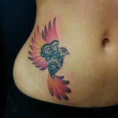 Chronic Ink Tattoo - Toronto Tatoo Custom bird tattoo made of lace, done by Miss Lee.