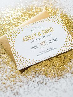 Gold Foil Confetti Save the Dates by #designerrolodex member Wide Eyes Paper Co: http://ohsobeautifulpaper.com/2015/04/gold-foil-confetti-save-the-dates/ | Design: Wide Eyes Paper Co | Printing: Czar Press | Photo Credits: Let's Frolic Together