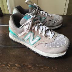 New Balance Classics: WL574 Grey/Teal '14 Great condition, only a year and a half old with fairly minimal use and wear and tear. No major stains, marks or tears. New Balance Shoes Sneakers