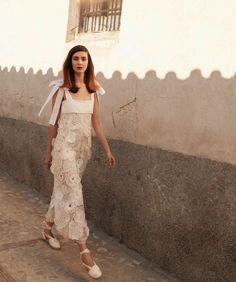 Walking the streets, Kati Nescher models Chloe floral appliqué dress with Castaner espadrilles