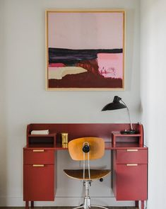 modern home office with pops of red and pink. / sfgirlbybay Home Office Design, Home Office Decor, Modern House Design, Diy Home Decor, Room Decor, Home Office Inspiration, Decoration Inspiration, Interior Inspiration, Office Ideas