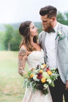 edgy bride and groom fashion