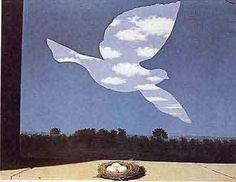 Magritte.  I used to have a huge print of this above my bed. I don't know where it went, but I miss it!