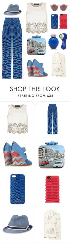 """""""Classic Car Rally"""" by bysc ❤ liked on Polyvore featuring MINKPINK, Mary Katrantzou, Missoni, Sarah's Bag, Scotch & Soda, Moschino, Sperry, Forzieri, Clarisonic and shoes"""