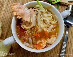 Рыбный суп-лапша с овощами   Суп по этому рецепту получается очень наваристый и ароматный. Приятного аппетита! #едимдома #кулинария #домашняяеда #обед #суп #морепродукты #рыба #лапша #готовимдома