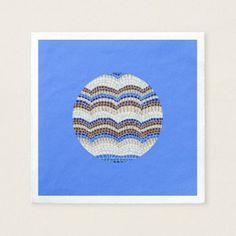 Round Blue Mosaic Cocktail Paper Napkins custom gift ideas diy