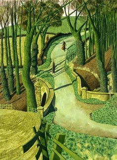 British Contemporary Painter Simon Palmer - Two Images of Myself in the Future Landscape Art, Landscape Paintings, Green Landscape, Oil Painting Reproductions, Naive Art, Oeuvre D'art, Les Oeuvres, Painting & Drawing, Scenery