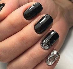 Best Nail Polish Colors For Winter Trend Bob Hairstyles .- best nail polish colors for winter # nail polish # nail # nail design - Black Nail Designs, Simple Nail Designs, Black Manicure, Black Shellac Nails, Acrylic Nails, Glitter Manicure, Black Nail Art, White Nail, Black Art