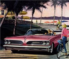 1959 Pontiac Catalina Convertible - 'Bermuda': Art Fitzpatrick and Van Kaufman - Early in our Pontiac work, we really started breaking the rules. Putting the girl's bike in front of the car!'