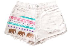 upcycled shorts (my idea would to get a darker colored pair of shorts, like red, and use stencils and bleach to make a pattern on the shorts such as the elephants)