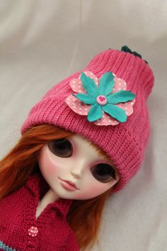Hat pink for doll Blythe Pullip Tangkou and other by BarbarraDolls