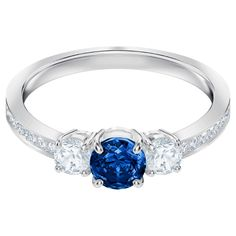 Attract Trilogy Round Ring, Blue, Rhodium plated | Swarovski.com Swarovski Crystaldust, Swarovski Jewelry, Swarovski Crystal Rings, Silver Jewellery, Promise Rings For Her, Matching Necklaces, Blue Crystals, Topaz, Engagement Rings